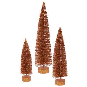 Copper Glitter Oval Tree, Set of Three