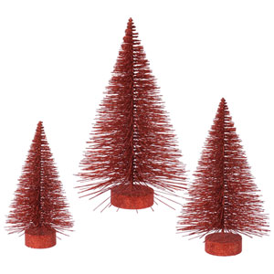 Red Glitter Fat Tree, Set of Three