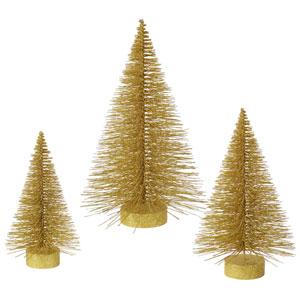 Gold Glitter Fat Tree, Set of Three