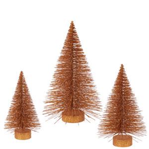 Copper Glitter Fat Tree, Set of Three