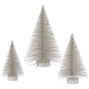 Champagne Glitter Fat Tree, Set of Three