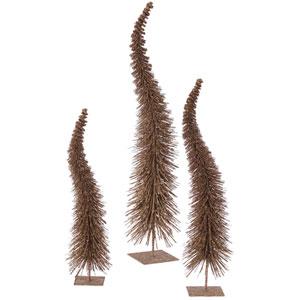 Mocha Glitter Curved Tree, Set of Three