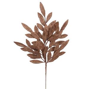Chocolate Glitt Bay Leaf Spray, Set of Six