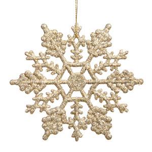 Champagne Snowflake Ornament 4-inch