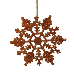 Burnish Orange Solid Color Snowflake Ornament 4-inch