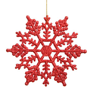 Red Snowflake Ornament 8-inch