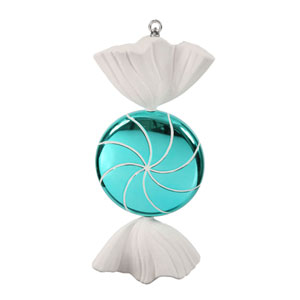 Turquoise Swirl Candy Ornament 18.5-inch