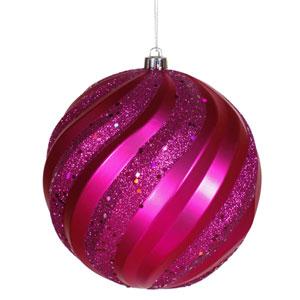 Cerise Swirl Ball Ornament 6-inch