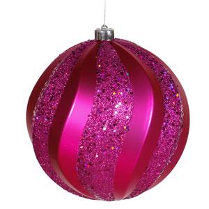 Cerise Swirl Ball Ornament 8-inch