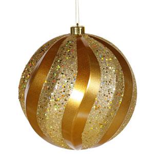 Antique Gold Swirl Ball Ornament 8-inch