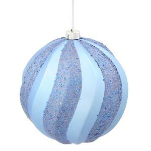 Periwinkle Matte 8-Inch Glitter Swirl Ball Ornament
