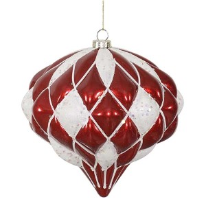 Red and White Matte 5.5-Inch Glitter Diamond Ornament
