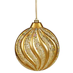 Antique Gold Flat Ball Ornament 6-inch