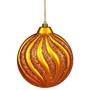 Burnish Orange Flat Ball Ornament 6-inch