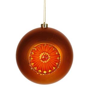 Burnish Orange Old Fashion Ball Ornament 8-inch