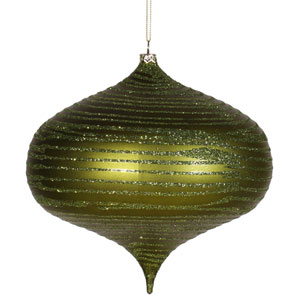 Dark Olive Matte-Glitter Onion Ornament 6.3-inch