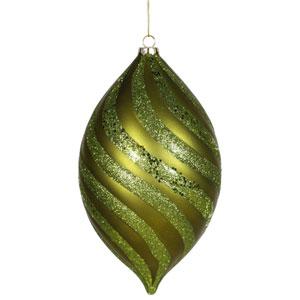 Dark Olive Spiral Drop Ornament 10.5-inch