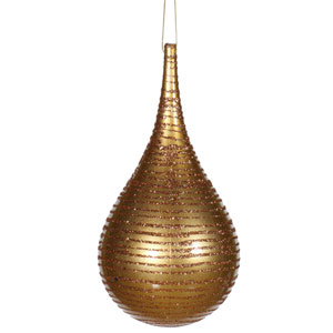 Antique Gold Matte-Glitter Onion Ornament 4-inch