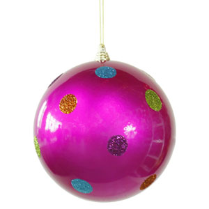 Cerise 5.5-inch Candy Polka Dot 6/Box Ball Ornament 140mm