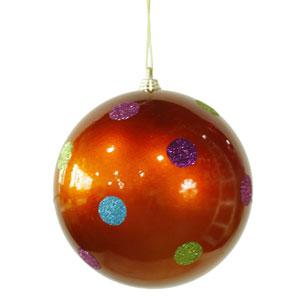 Burnish Orange 5.5-inch Candy Polka Dot 6/Box Ball Ornament 140mm
