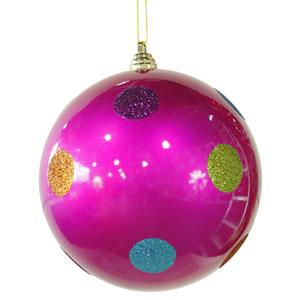 Pink 8-inch Candy Polka Dot 6/Box Ball Ornament 200mm