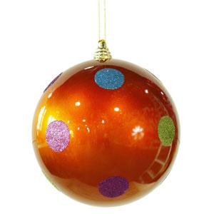 Orange 8-inch Candy Polka Dot 6/Box Ball Ornament 200mm