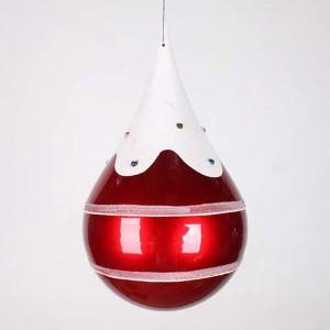 Red 7-Inch Candy Snow Jewel Teardrop Ornament