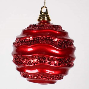 Red 6-Inch Candy Glitter Wave Ball Ornament