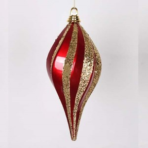 Red and Gold 12-Inch Candy Glitter Swirl Drop Ornament