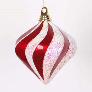 Red and White 6-Inch Candy Glitter Swirl Diamond Ornament