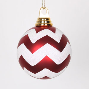 Red and White Glitter Chevron Ball Ornament, Set of Four