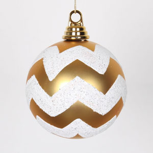 Gold and White Glitter Chevron Ball Ornament, Set of Three