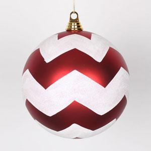 Red and White 8-Inch Matte Glitter Chevron Ball Ornament