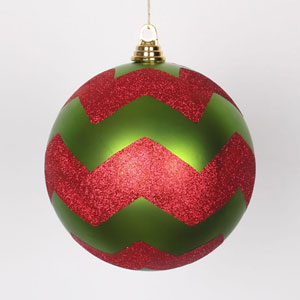 Red and Lime 8-Inch Matte Glitter Chevron Ball Ornament