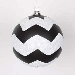 Black and White 8-Inch Matte Glitter Chevron Ball Ornament