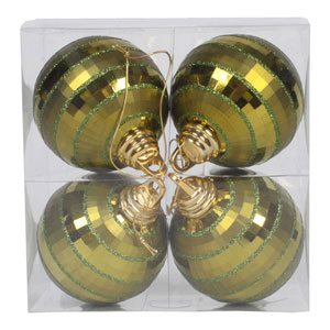 Dark Olive Shiny and Matte Mirror Ball Ornmanet, Set of Four