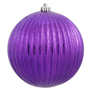 Purple Mercury Pumpkin Ball Ornament, Set of Four