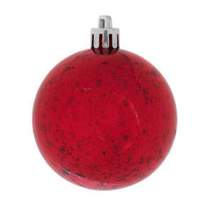 Red Shiny Mercury Ball Ornament, Set of Four