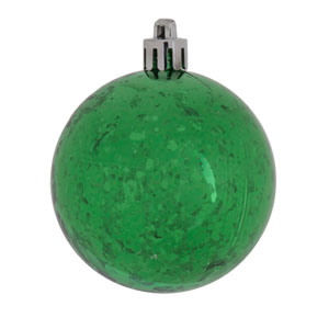 Green Shiny Mercury Ball Ornament, Set of Four
