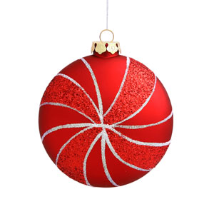 Red Assorted Shape Swirl Ornaments 95mm 3/Box