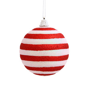 Candy Cane Assorted Shape Ball Ornament 80mm 4/Box