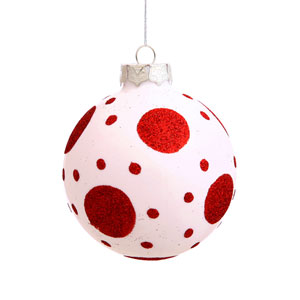 Red and White Assorted Shape Ball Ornament 80mm 4/Box