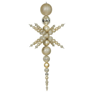 Champagne Snowflake Finial Ornament