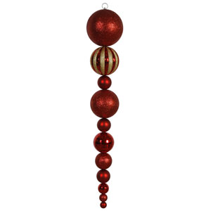 Red Assorted Shape Calabash Ornament 55-inch