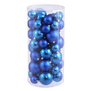 Blue Shiny and Matte Ball Ornaments, 50 per Box