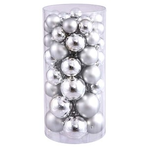 Silver Shiny and Matte Ball Ornaments, 50 per Box