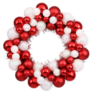 Candy Cane Colored Ball Wreath Ornament 12-Inch