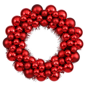 Red Colored Ball Wreath Ornament 12-Inch