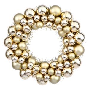 Gold Colored Ball Wreath Ornament 12-Inch