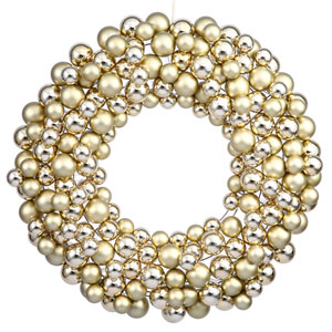 Gold Colored Ball Wreath Ornament 24-Inch